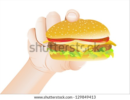 Hand Holding a Cheeseburger