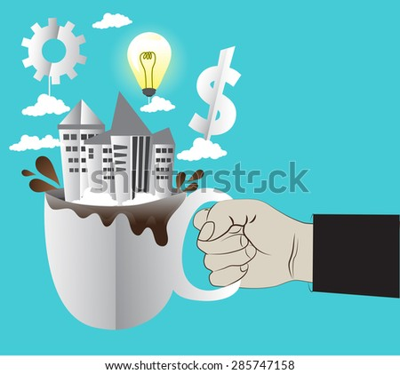 Hand holding a coffee cup with building concept make money by ideas-vector - stock vector