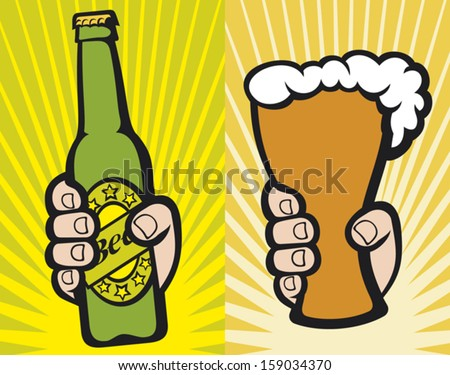 hand holding a glass of beer and hand holding a green beer bottle - stock vector