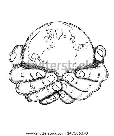 Hand holding a globe - stock vector