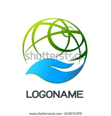 Hand holding a globe abstract vector logo design template - stock vector