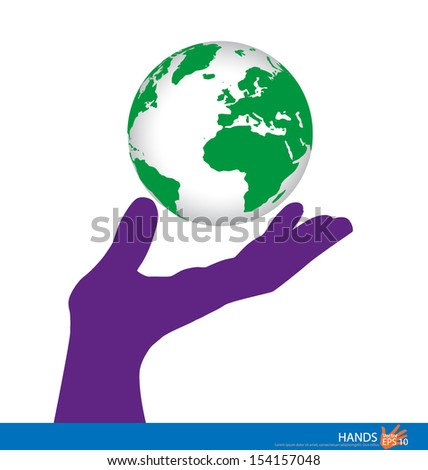 Hand holding a green earth. Vector illustration.