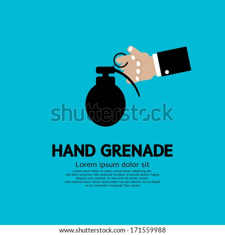 Hand Holding A Grenade - stock vector