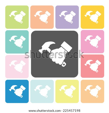 Hand holding a hammer Icon color set vector illustration. - stock vector