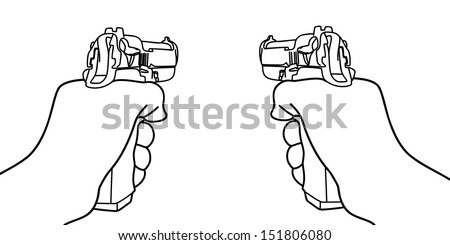 hand holding a handgun vector illustration - stock vector