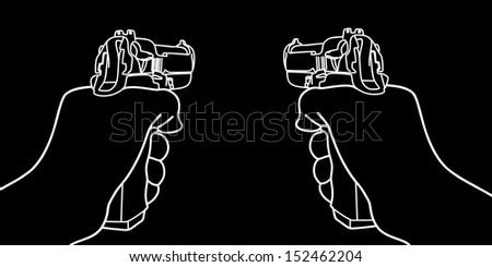 hand holding a handgun vector illustration - stock vector