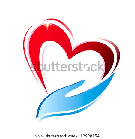 hand holding a heart icon, isolated vector symbol - stock vector