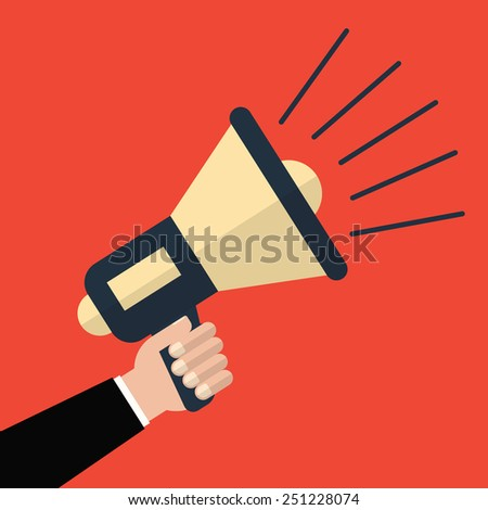 Hand holding a megaphone on a red background. Vector illustration a flat style - stock vector