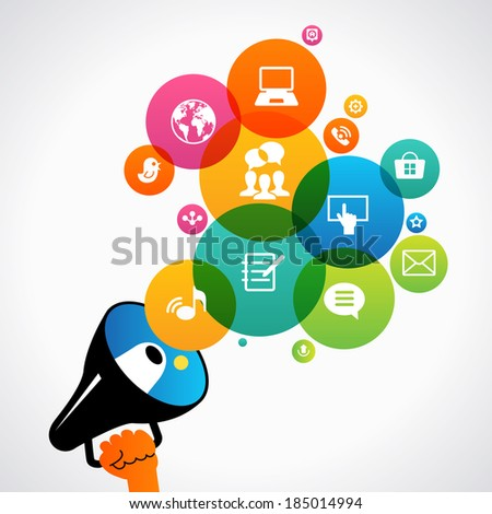 Hand holding a megaphone promotion social media icons. Concept communications, network - stock vector
