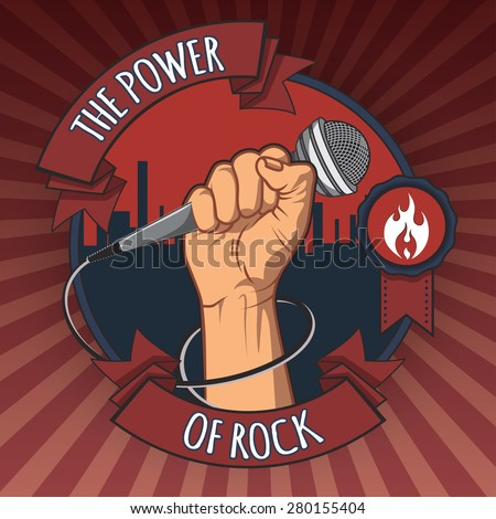hand holding a microphone in a fist. the power of rock retro  poster. vector illustration.   - stock vector