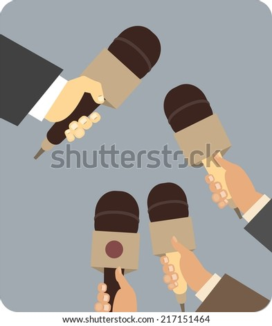 Hand Holding a microphone symbol Journalism man takes someone interviewed in a flat style  - stock vector