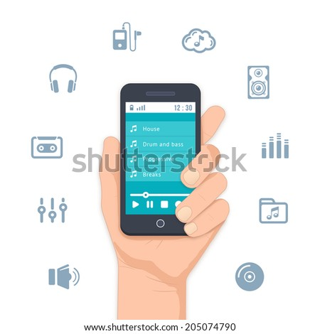 Hand holding a mobile MP3 player with a list of tunes on the display and surrounded by assorted music and entertainment icons for apps   vector illustration on white