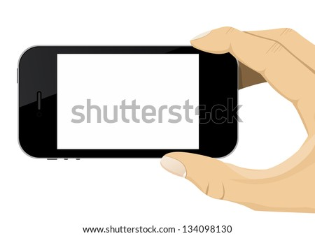 Hand Holding a Mobile Phone - stock vector