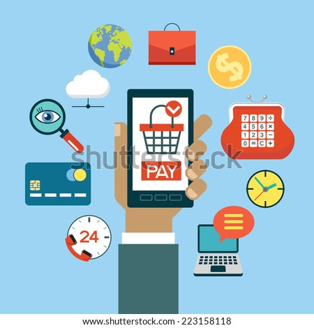 Hand holding a mobile phone surrounded by e-commerce icons. Set of modern design icons in flat design with trendy colors for web and apps. Vector e-shopping concept - start up infographic design - stock vector