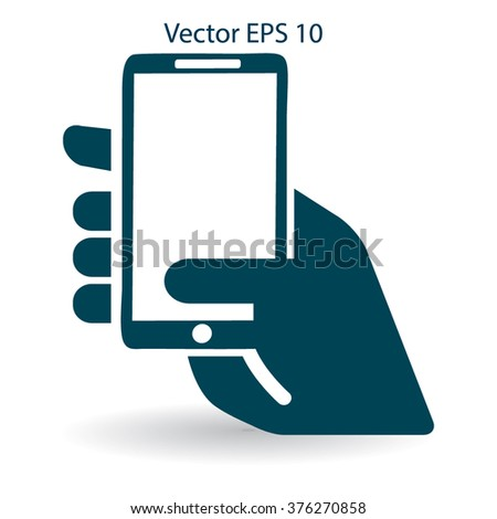 Hand holding a mobile phone vector illustration - stock vector