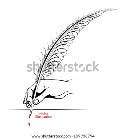 hand holding a pen or a feather - stock vector