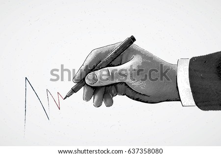 Hand holding a pencil and drawing a line, the illustration is made in the style of engraving.