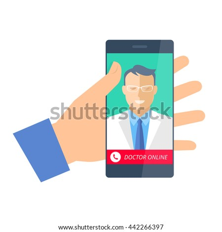 Hand holding a phone with doctor online. Telemedicine and telehealth flat concept illustration. Hand, smartphone with medic on the display. Vector element for tele medical and health infographic.