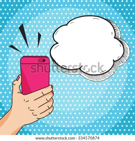 Hand holding a pink mobile phone with speech bubble for your text, pop art comic style vector illustration. Mobile phone call or taking selfie concept. - stock vector