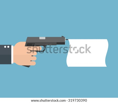 Hand holding a pistol with an empty flag. Flat style - stock vector
