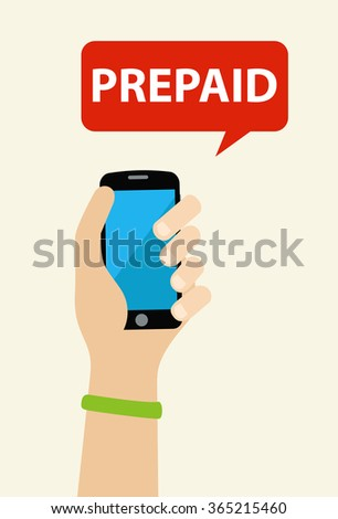 Hand holding a prepaid phone - stock vector
