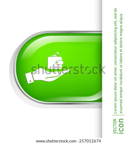 hand holding a purse sign. symbol icon purse and dollar. money in your wallet - stock vector