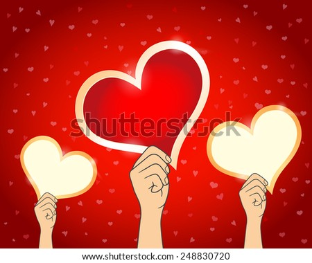 Hand Holding A Red Heart Paper, Valentine's Day Card, Vector Illustration EPS 10. - stock vector