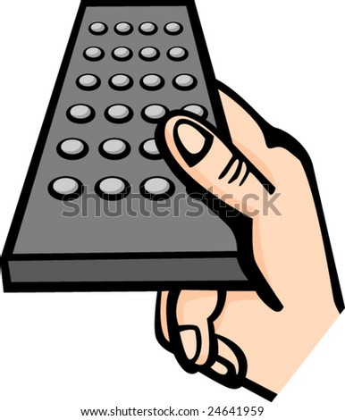 hand holding a remote control - stock vector
