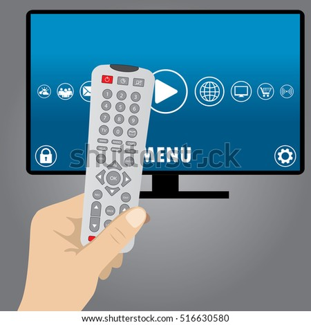 Hand holding a remote tv control, smart television, flat vector illustration