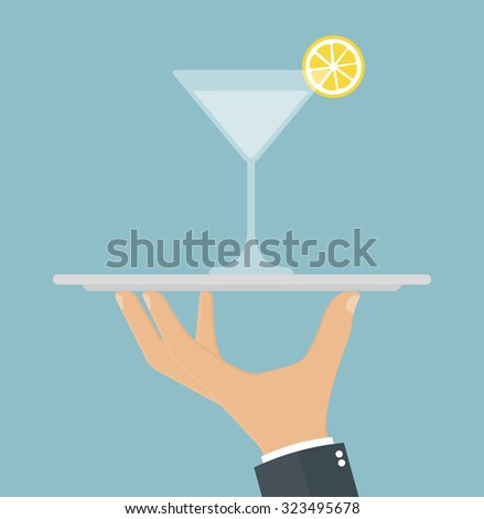 Hand holding a silver platter with a cocktail on it. Flat style - stock vector
