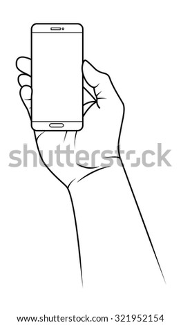 Hand holding a small smartphone facing flat on.