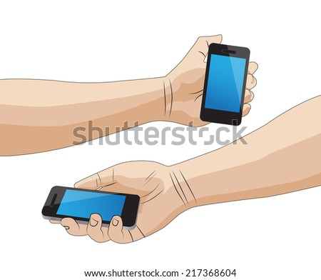 Hand holding a smart phone isolated