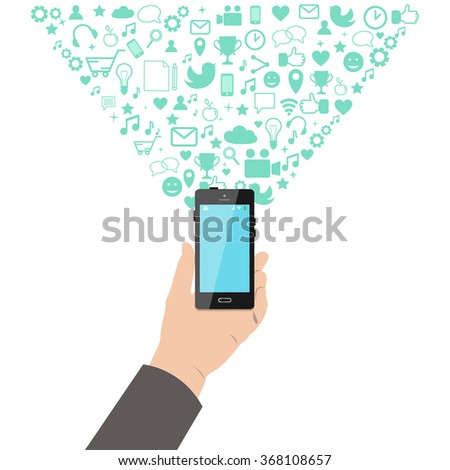 Hand holding a smart phone with application icons bursting out. Application development, communication, social media, networking concept. Vector illustration.