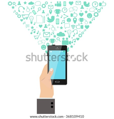Hand holding a smart phone with application icons bursting out. Entertainment, application development, social networking concept. Vector illustration.