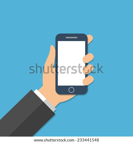Hand holding a smartphone - stock vector