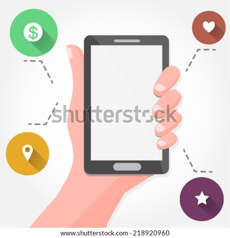 hand holding a smartphone - flat design vector