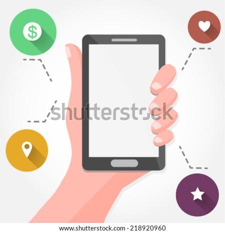 hand holding a smartphone - flat design vector   - stock vector