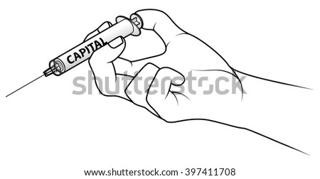 Hand holding a syringe. Concept: injecting capital.