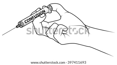 Hand holding a syringe. Concept: injecting confusion.