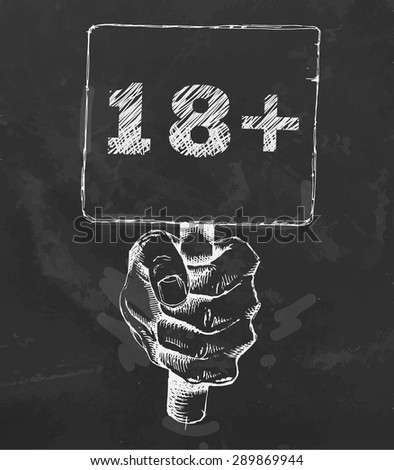 hand holding a tablet with an inscription 18+. Chalk drawn Vector. - stock vector