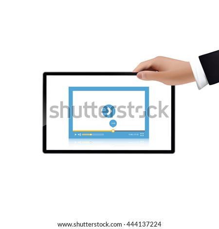Hand holding a tablet with video player, Vector illustration.   - stock vector