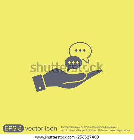 hand holding a the cloud of speaking dialogue - stock vector