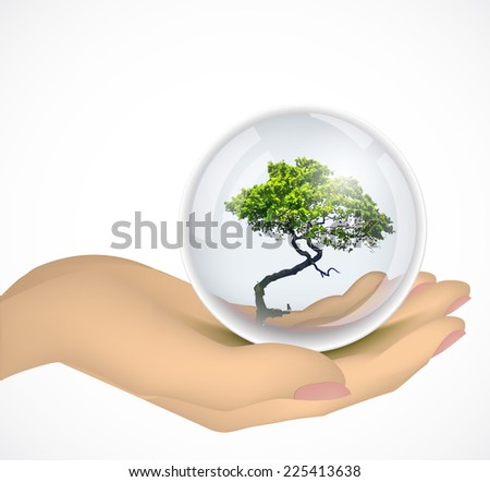 Hand holding a tree in glass bowl. Vector - stock vector