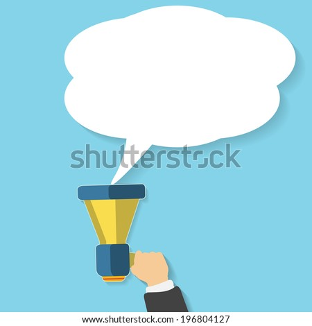 Hand holding a yellow megaphone with white bubble. Business concept of marketing in flat design. White bubble speech in social communication concept
