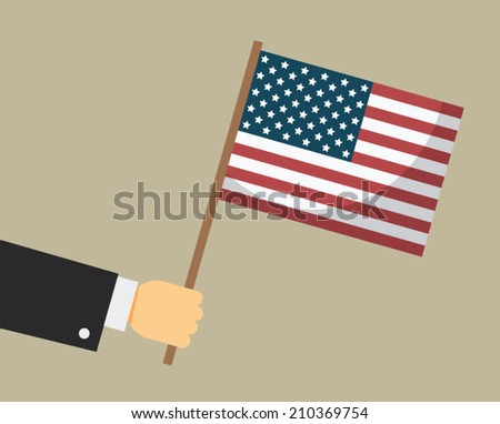 Hand holding American flag. Vector illustration. - stock vector