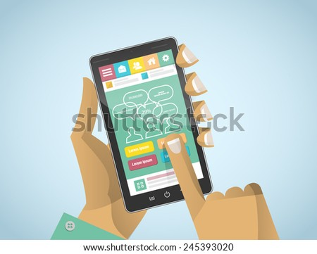Hand holding and Touch on Black Smartphone with simple flat UI - stock vector