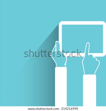 hand holding and touching tablet on blue background - stock vector