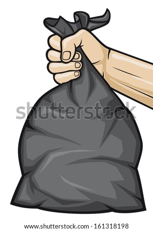 hand holding black plastic trash bag  - stock vector