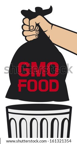 hand holding black plastic trash bag with GMO food (no GMO design, hand throwing trash bag in a trash bin) - stock vector