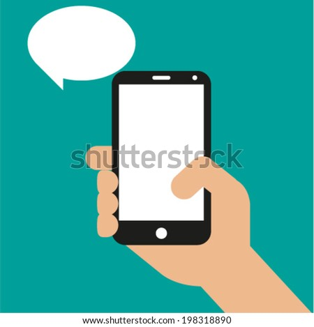 Hand holding black smartphone, touching blank screen. Vector illustration - stock vector